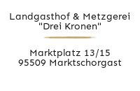 """Logo Landgasthof & Metzgerei """"Drei Kronen"""", Marktschorgast"""
